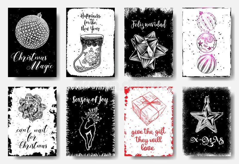 Cartes tirées par la main de Noël avec la boule de Noël, chaussettes pour des bonbons illustration de vecteur