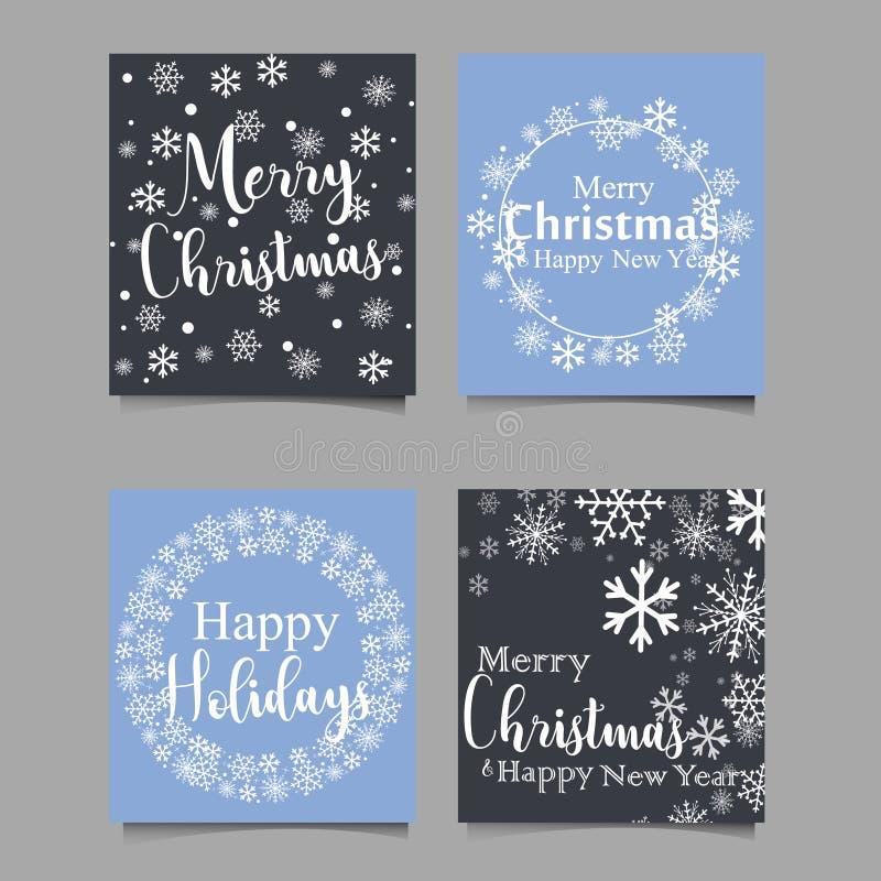 Cartes tirées par la main de Noël avec des arbres de Noël, des flocons de neige, la branche de sapin, des boules et la guirlande  illustration de vecteur