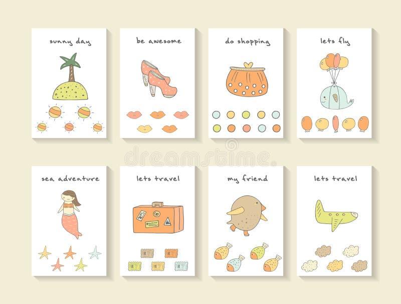 Cartes tirées par la main mignonnes de fête de naissance de griffonnage illustration de vecteur