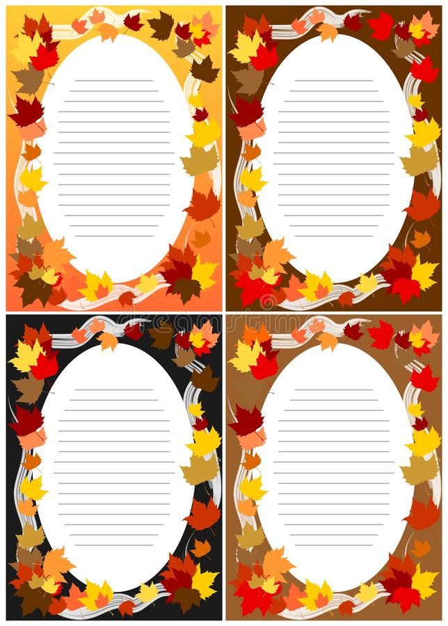 4 cartes vierges Autumn Fall d'invitations illustration stock