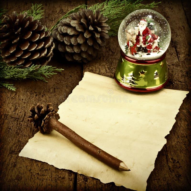 Cartes vierges de Santa Christmas de parchemin de lettre photos libres de droits