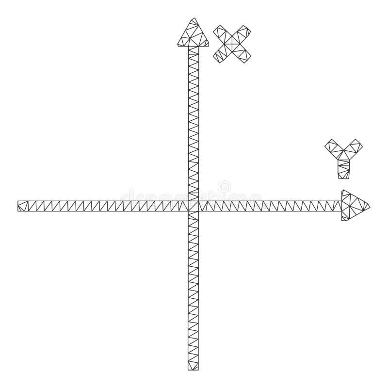 Cartesiaans Assen Veelhoekig Kader Vectormesh illustration vector illustratie
