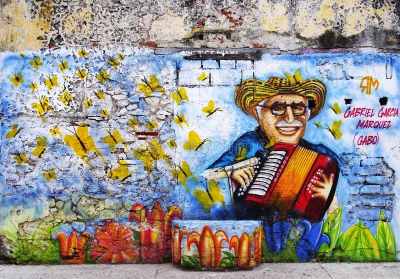 CARTHAGÈNE, COLOMBIE, LE 3 AOÛT 2018 : Hippie Getsemani - Street Art locaux images libres de droits