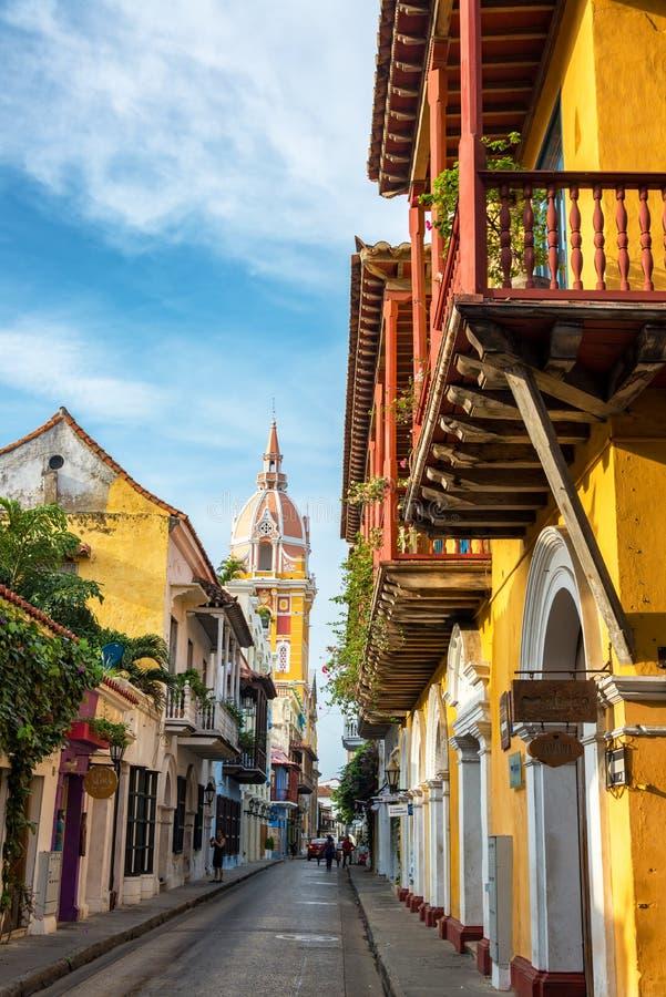 Carthagène, la Colombie et cathédrale images libres de droits