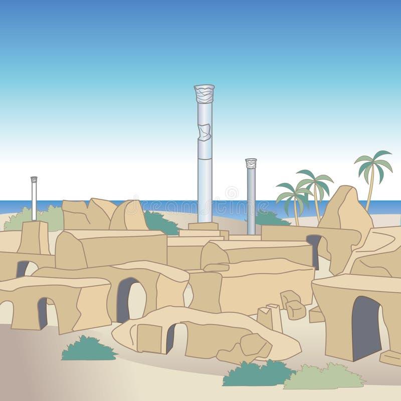 Carthage fördärvar i Tunisien vektor illustrationer