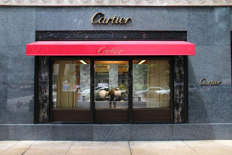 Cartier. CHICAGO - JUNE 26: Cartier store at Magnificent Mile on June 26, 2013 in Chicago. The jewelry company was founded in 1847 and according to Forbes is stock image