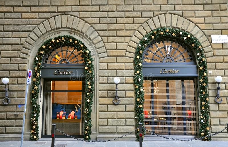 Cartier fashion shop in Italy. Cartier S.A., commonly known as Cartier, is a French luxury jeweller and watch manufacturer. The corporation carries the name of stock photo