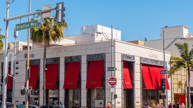 Cartier lager på Rodeo Drive i Beverly Hills - KALIFORNIEN, USA - MARS 18, 2019 arkivbilder