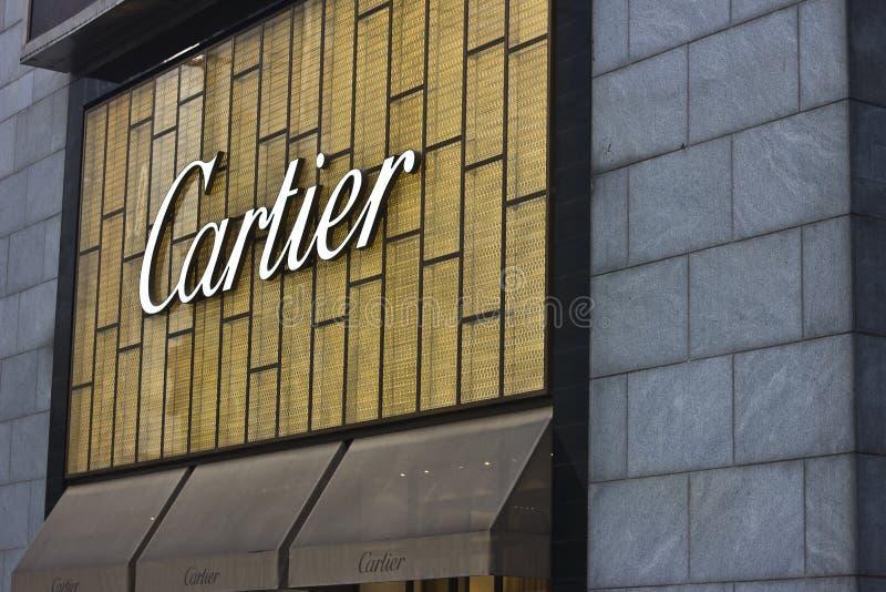 Cartier logo. At Chongqing city, China. Photo taken on February 2, 2014 stock image