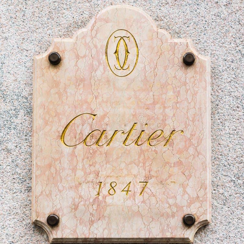 Cartier logo w wyłącznym terenie Mediolan, Włochy obraz stock