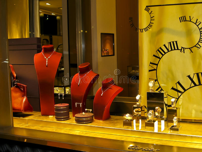 Cartier's shop window display on Champs Elysees stock photos