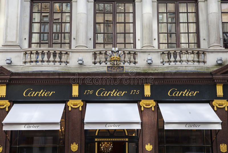 Cartier Store in London. LONDON, UK - APRIL 7TH 2016: The exterior of the Cartier store on New Bond Street in Mayfair, London on 7th April 2016 royalty free stock photography