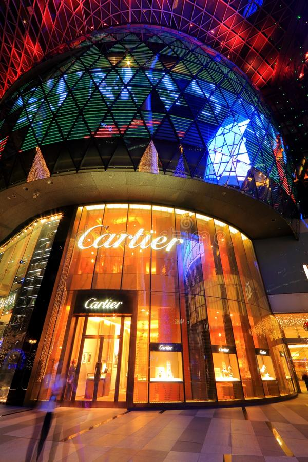 Cartier Store at Orchard Ion. Beautiful shot of Cartier store at orchard ion stock photo