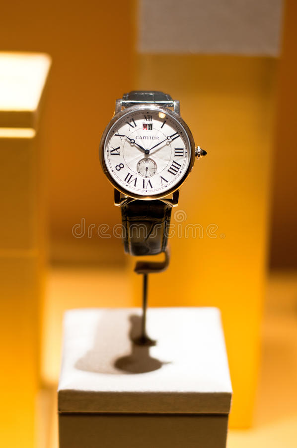 Cartier Watch. A portrait of a luxurious classic design Cartier designer watch . Photo was taken on 10 September 2011 royalty free stock images