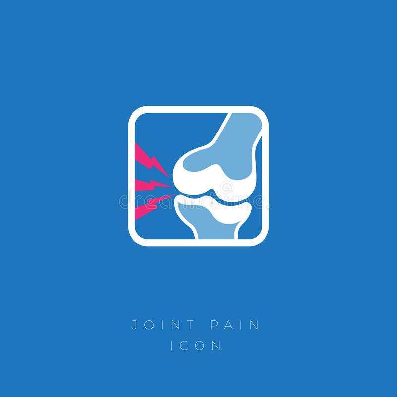 Cartilage damage, Arthritis, Osteoarthritis icon. Severe and acute pain in the joint. Flat icon in a rounded frame vector illustration