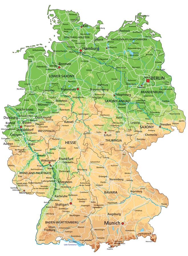 Cartina Fisica Germania Con Confini.La Mappa Dettagliata Della Germania Con Le Regioni O Stati E Citta Capitali Illustrazione Vettoriale Illustrazione Di Berlino Leipzide 105414696