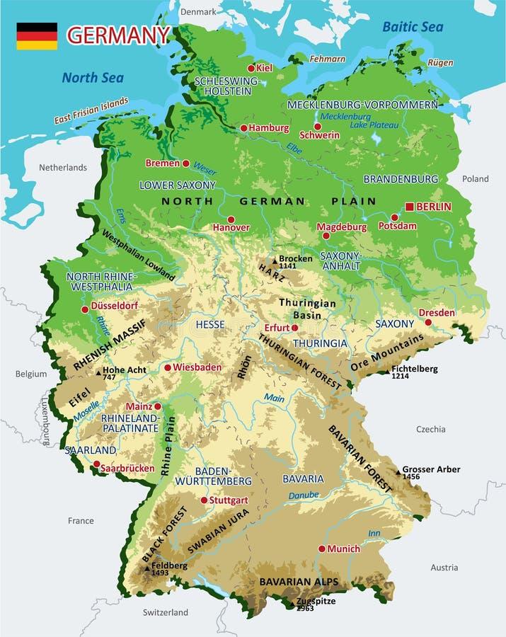 Germania Cartina Fiumi.La Mappa Dettagliata Della Germania Con Le Regioni O Stati E Citta Capitali Illustrazione Vettoriale Illustrazione Di Berlino Leipzide 105414696