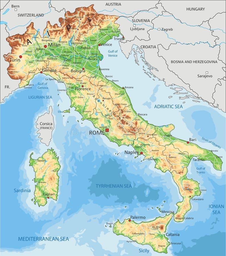 Cartina Fisica Dell Italia Settentrionale.Mappa Fisica Dell Illustrazione Dell Italia Illustrazione Di Stock Illustrazione Di Viaggio Collina 32833412