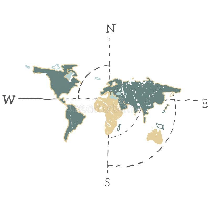 Cartographer карт земли цвета иллюстрации чертежа вектора карты мира зеленый желтый на белой предпосылке бесплатная иллюстрация