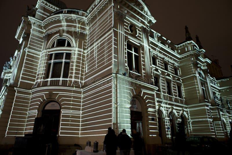 Cartographie de l'art sur le bâtiment de théâtre dans le ³ W de Krakà photo stock