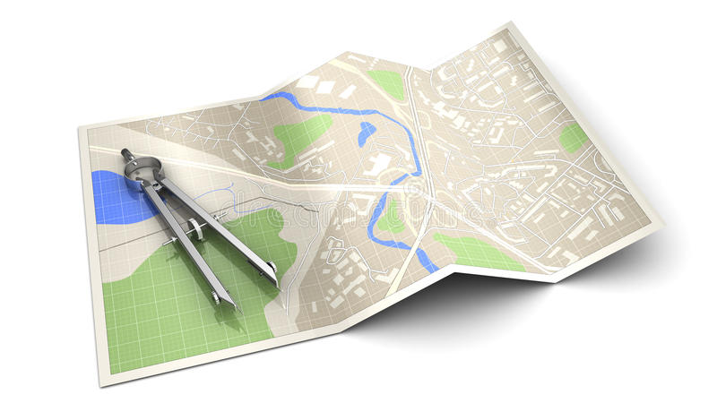 Cartography. 3d illustration of cartography concept or icon, over white background vector illustration