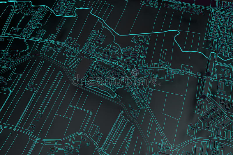 Cartography map city. Black cartography map city top view. 3d rendering royalty free illustration