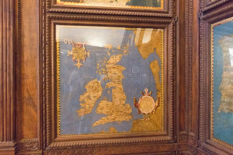 Cartography map in the Hall of geographical maps in Palazzo Vecchio, Florence, Tuscany, Italy. stock photos