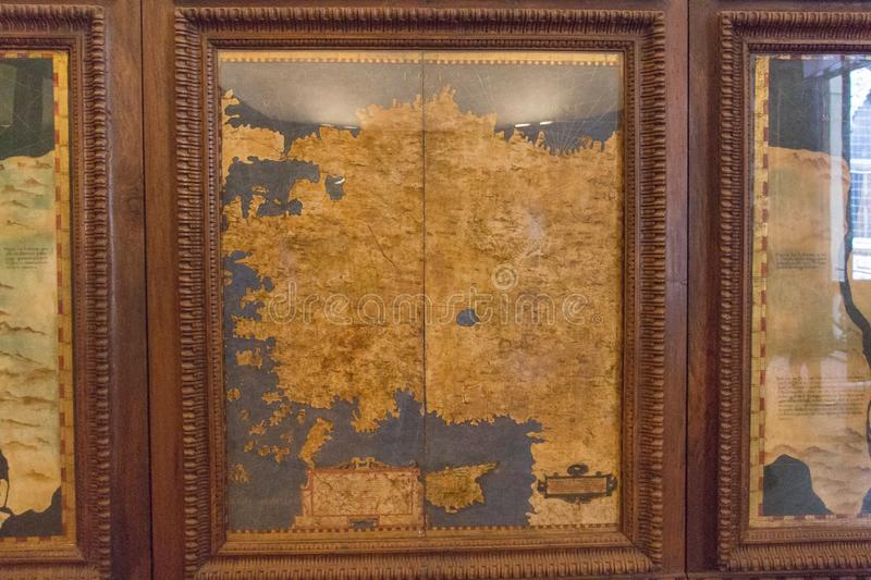 Cartography map in the Hall of geographical maps in Palazzo Vecchio, Florence, Tuscany, Italy. stock photography