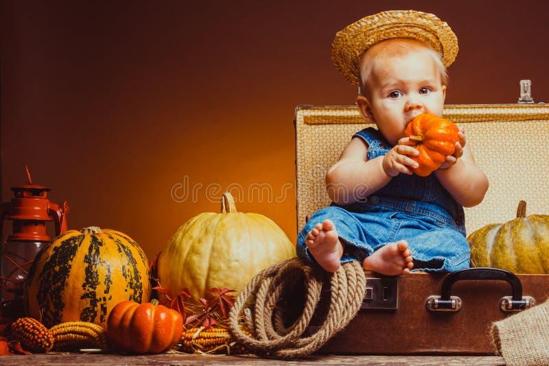 Cartolina al giorno del ringraziamento, bambino sveglio fotografie stock libere da diritti