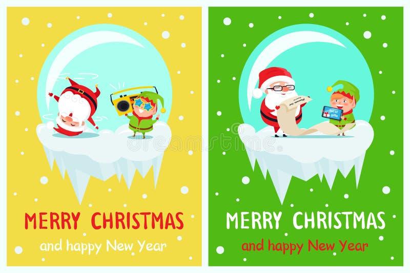 Cartolina allegra Santa e Elf di natale del buon anno illustrazione di stock
