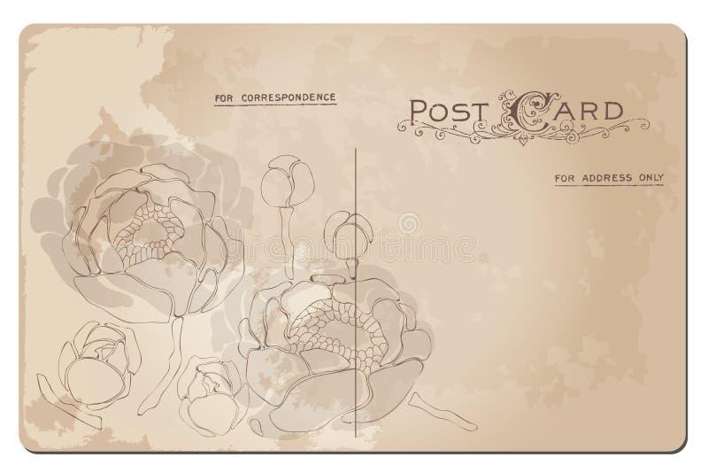 Cartolina antica con il disegno del fiore del giglio royalty illustrazione gratis