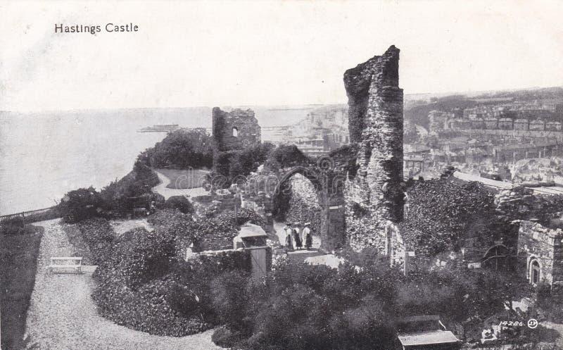Cartolina in bianco e nero d'annata del castello di Hastings fotografia stock libera da diritti