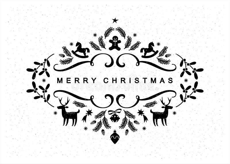 Cartolina in bianco e nero di Natale fotografia stock