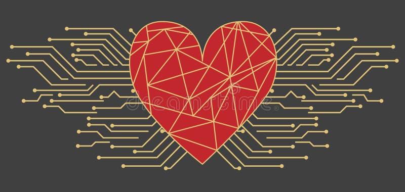 Cartolina con il San Valentino nello stile alta tecnologia Grande cuore con un'iscrizione ed i microchip o con il circuito illustrazione vettoriale