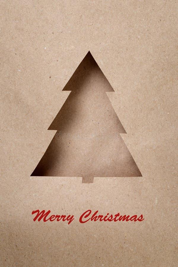 Cartolina con l'albero di Natale di carta fotografie stock libere da diritti
