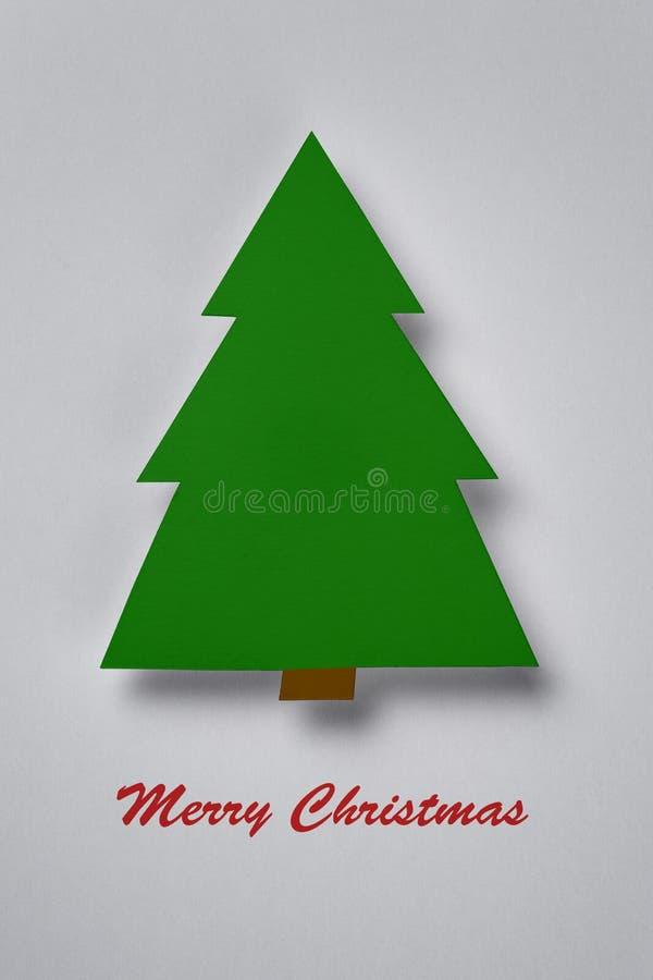 Cartolina con l'albero di Natale di carta immagine stock libera da diritti