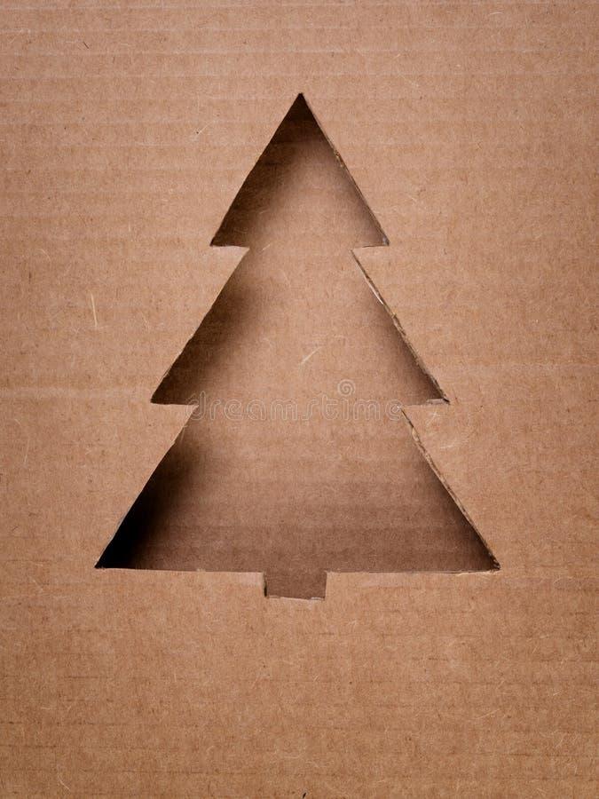 Cartolina con l'albero di Natale di carta fotografia stock libera da diritti