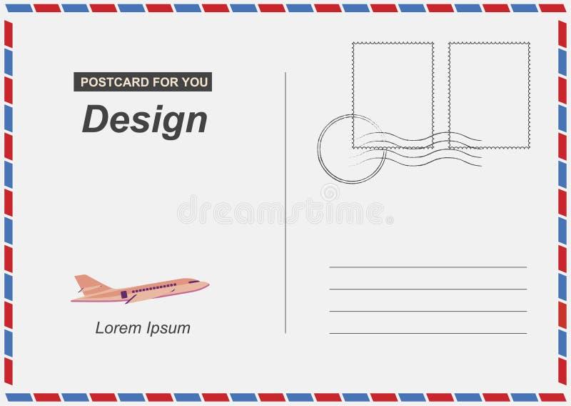 Cartolina con l'illustrazione piana ENV 10 dell'icona dell'aeroplano Carta postale per il viaggio Progettazione del modello per l illustrazione di stock