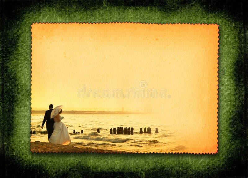 Cartolina con la coppia sposata illustrazione di stock