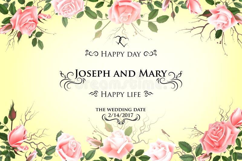 Cartolina con le rose delicate dei fiori Invito di nozze, grazie, conservano le carte di data, il menu, l'aletta di filatoio, mod illustrazione vettoriale
