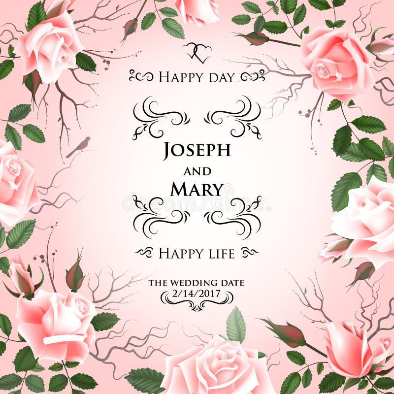 Cartolina con le rose delicate dei fiori Invito di nozze, grazie, conservano le carte di data, il menu, l'aletta di filatoio, mod royalty illustrazione gratis