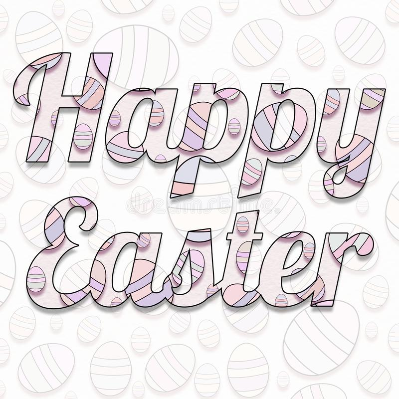 Cartolina, copertura delle congratulazioni Pasqua felice con una struttura delle uova decorative nei colori pastelli illustrazione di stock