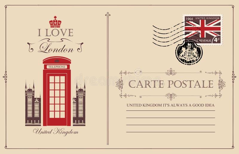 Cartolina d'annata con la cabina telefonica di Londra illustrazione vettoriale