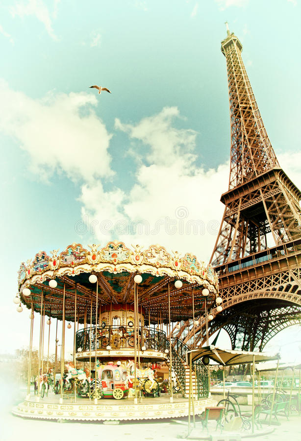Cartolina d'annata della torre Eiffel, Parigi france fotografia stock libera da diritti
