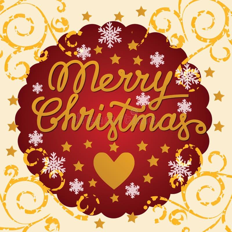 Cartolina d'annata di Buon Natale con cuore e le stelle royalty illustrazione gratis