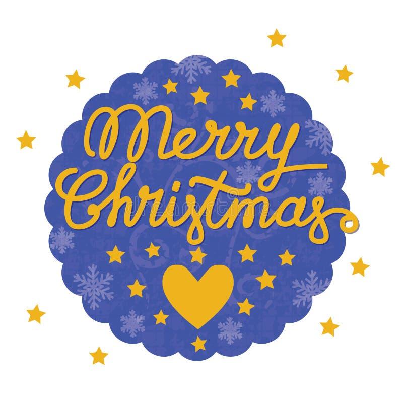 Cartolina d'annata di Buon Natale con cuore e le stelle illustrazione di stock