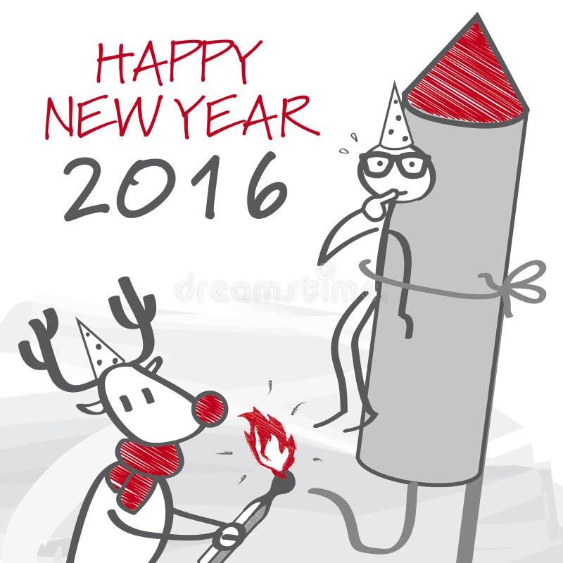 Cartolina d'auguri 2016 illustrazione di stock