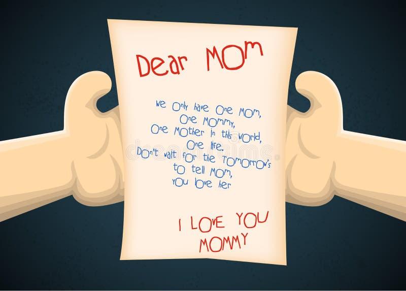 Cartolina d'auguri al figlio dalla madre per la festa della mamma royalty illustrazione gratis