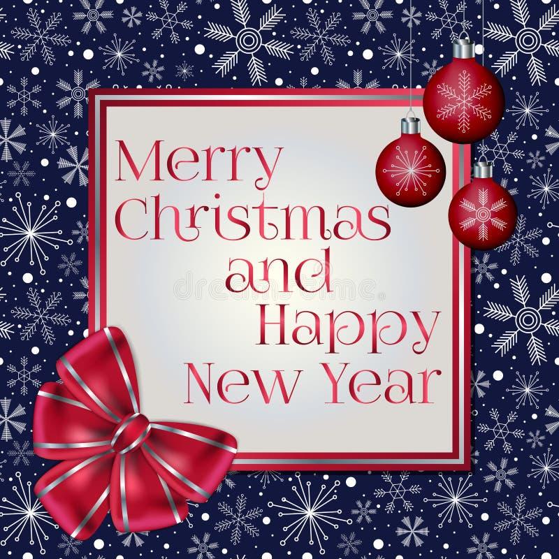 Cartolina d'auguri alla moda del nuovo anno e di Natale decorata con l'arco rosso, le palle di Natale ed i vari fiocchi di neve s illustrazione di stock