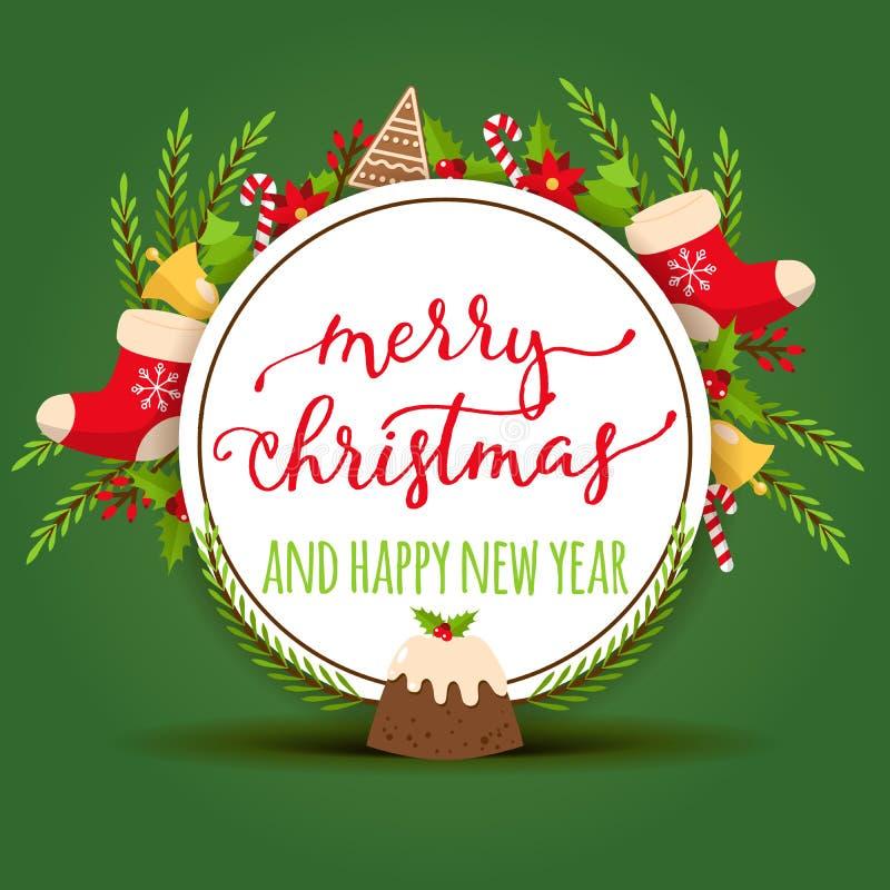 Cartolina d'auguri allegra di natale di vettore di Natale con l'albero del nuovo anno del Babbo Natale e l'illustrazione del fond illustrazione di stock
